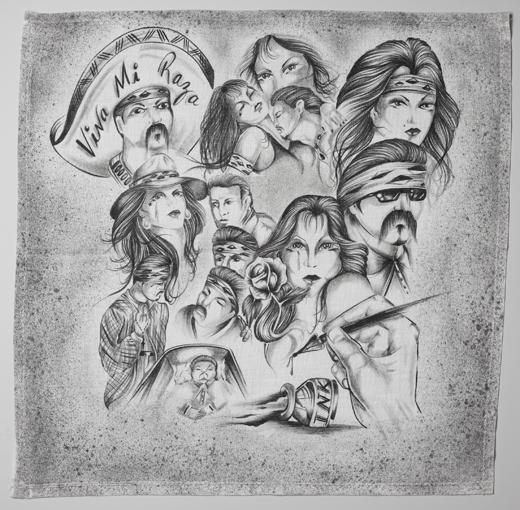 panuelos mouchoir dessiné à la main par des prisonniers mexicains
