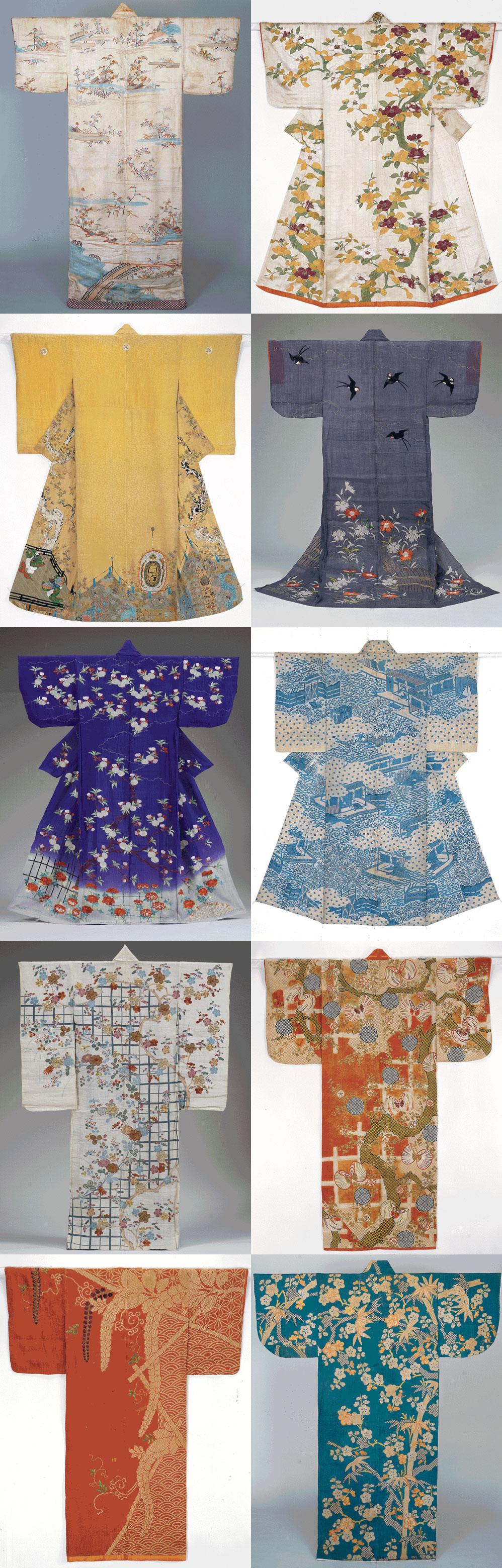 kimono richement brodés et décorés exposés à paris en 2017