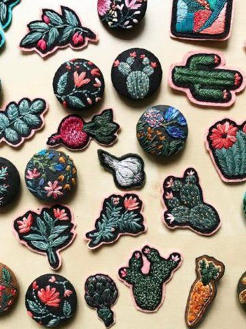 broches végétaux et cactus en broderie